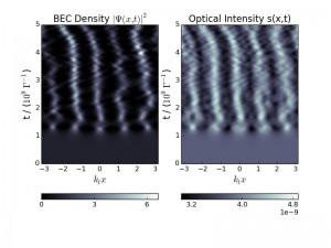 Self-structuring : Both the BEC density and optical intensity display a transition from a spatially homogeneous to a modulated state
